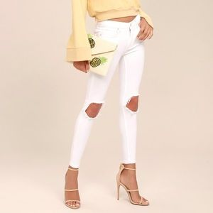 Free People White Busted Knee Skinny Jeans